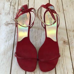 Splash Fashion Footwear Red High Heel Sandal Shoe